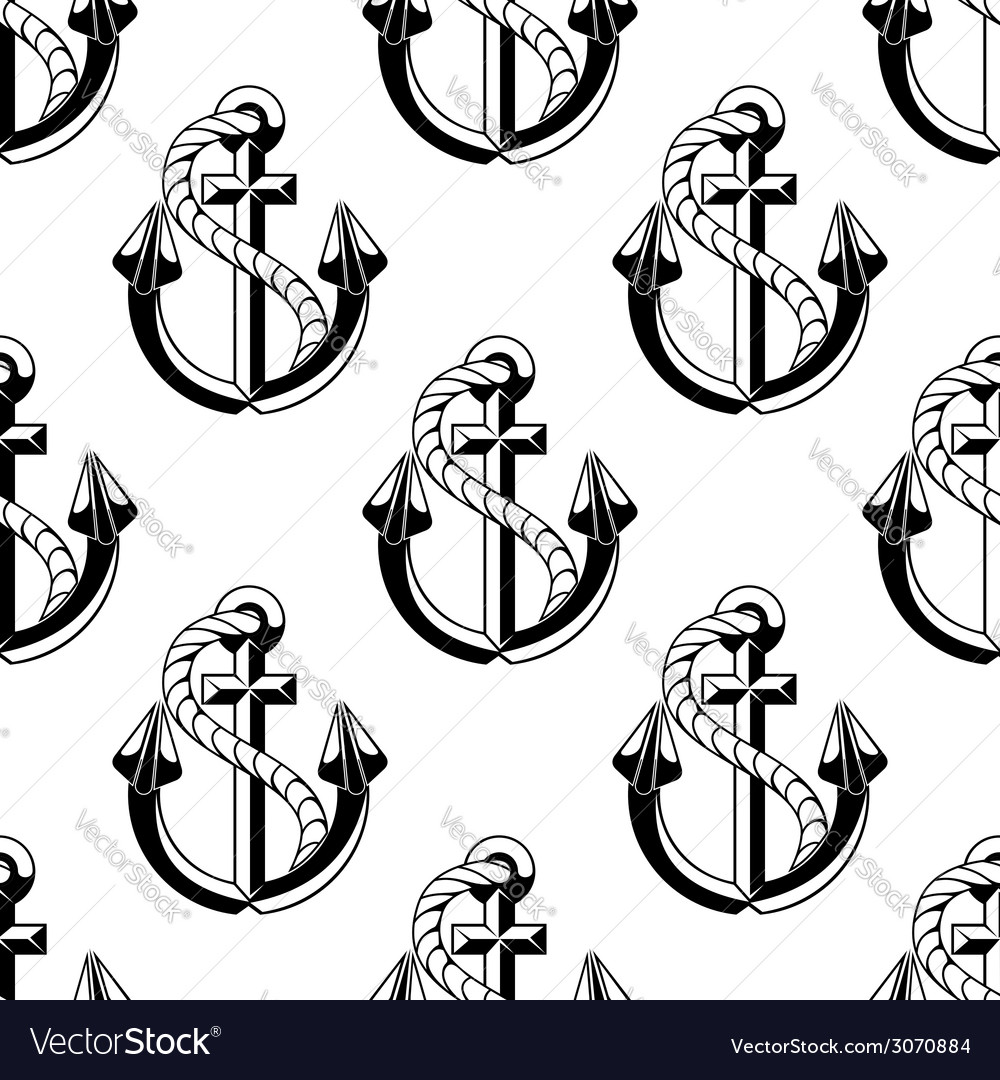Seamless background pattern of ships anchors vector