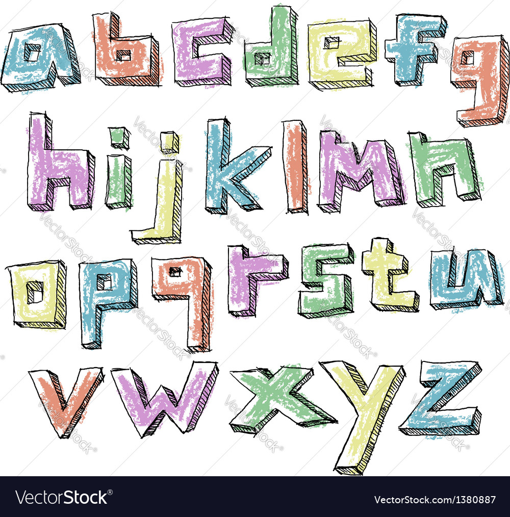 Colorful sketchy hand drawn lower case alphabet vector