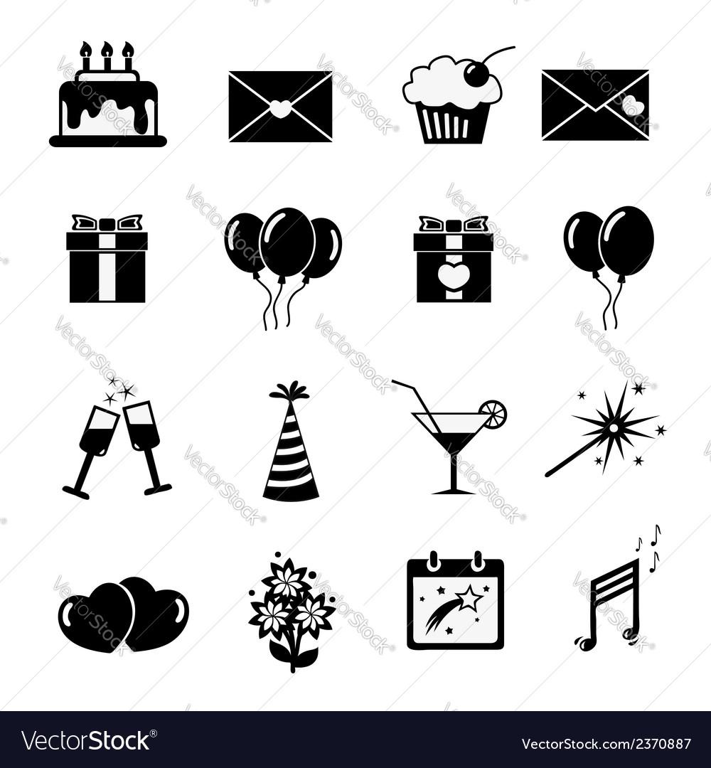 Set of celebratory icons symbols vector