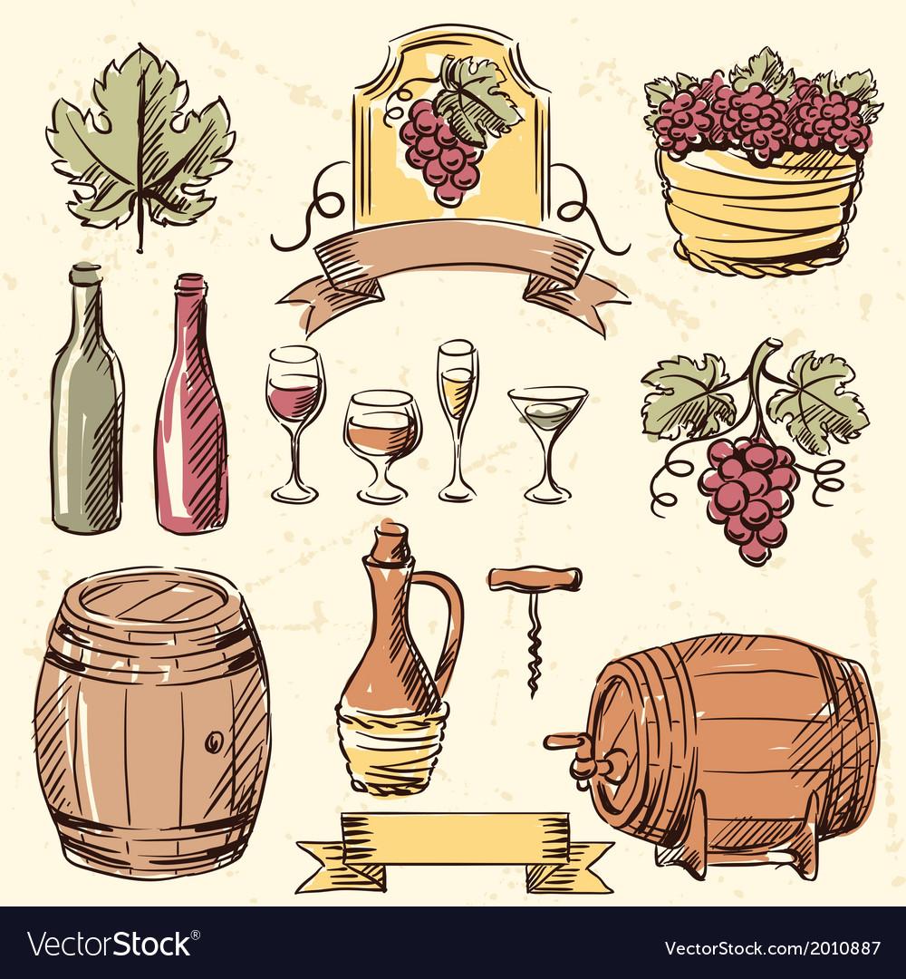Wine vintage hand drawn set vector