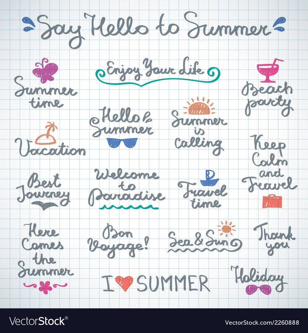 Summer letterings vector