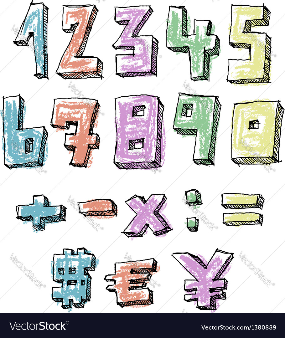 Colorful sketchy hand drawn numbers vector