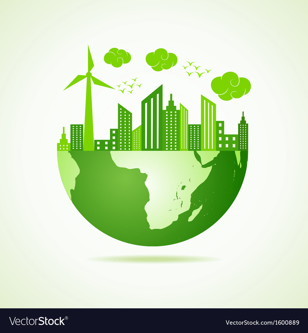 Eco earth concept with green cityscape vector