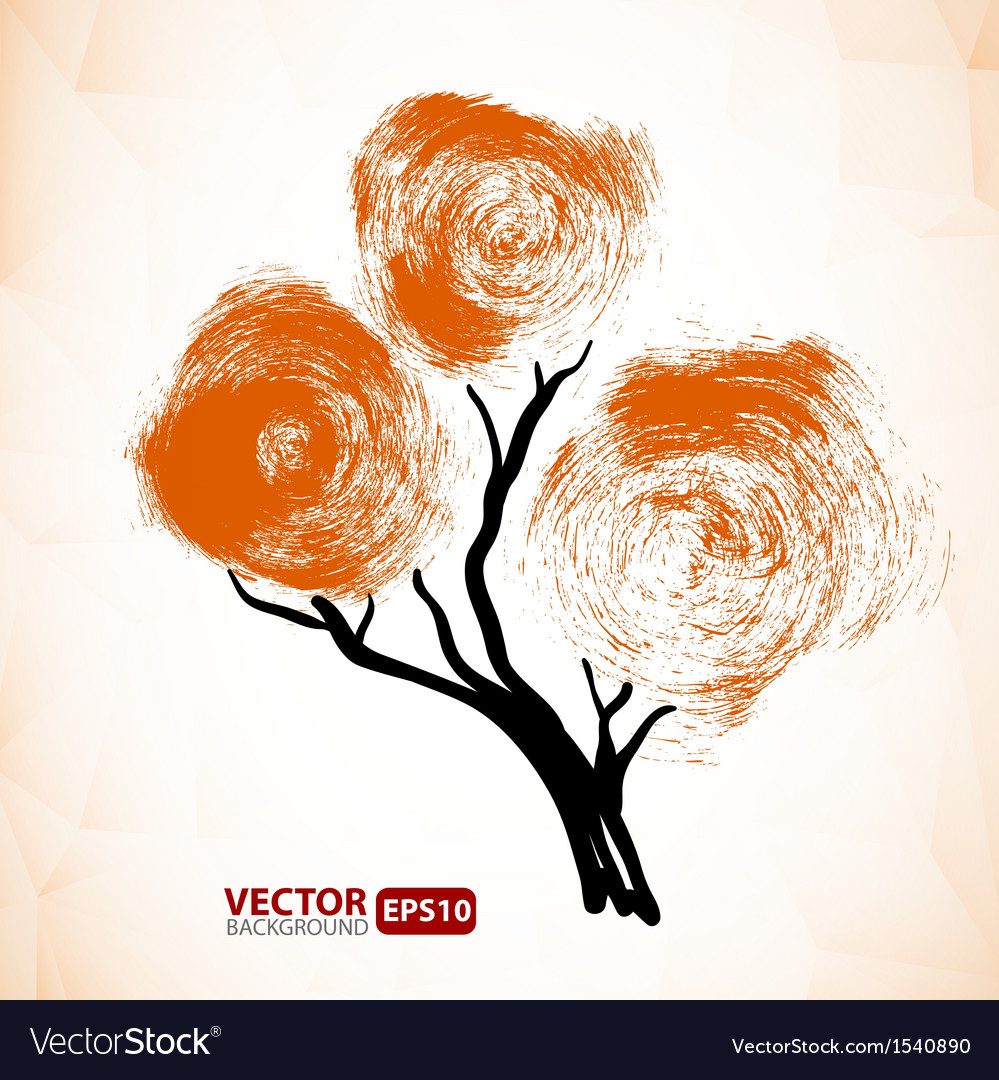 Abstract tree with a crown made of stain vector