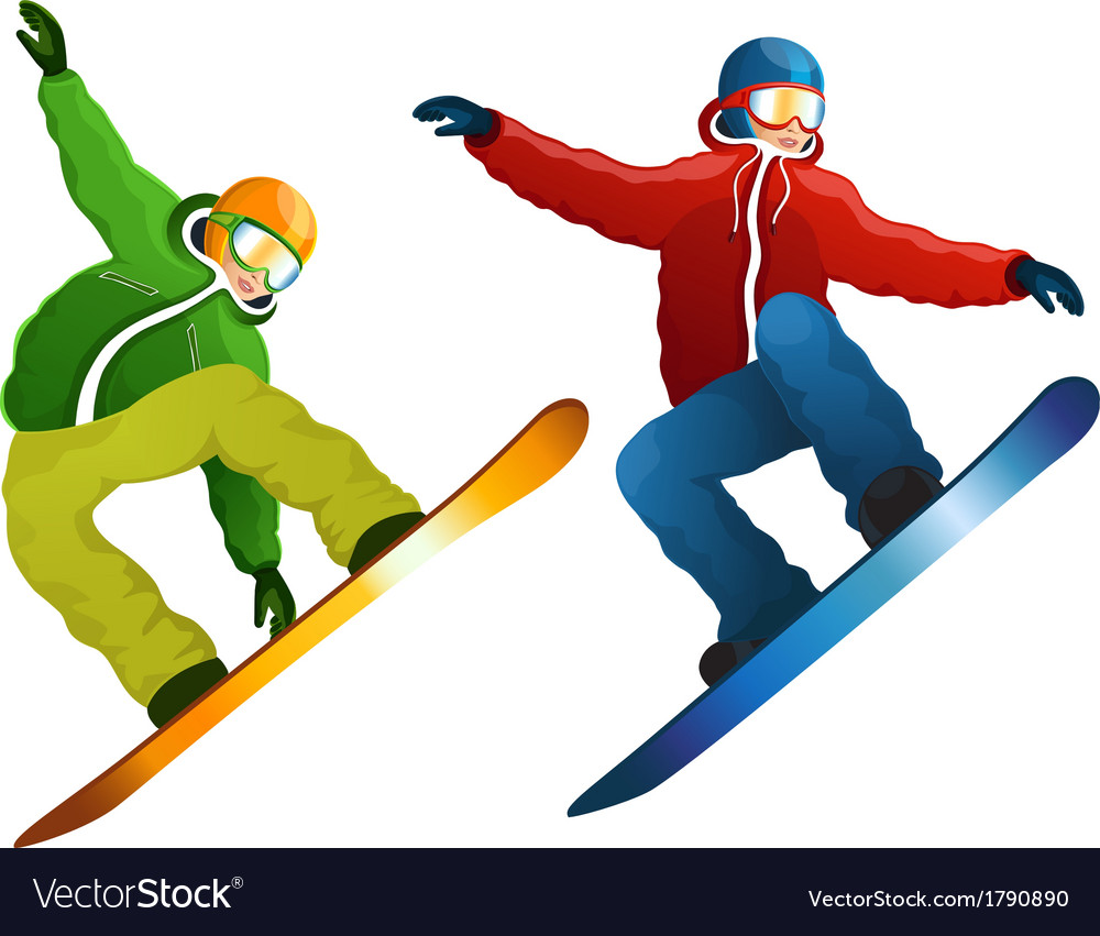 Snowboarders isolated vector