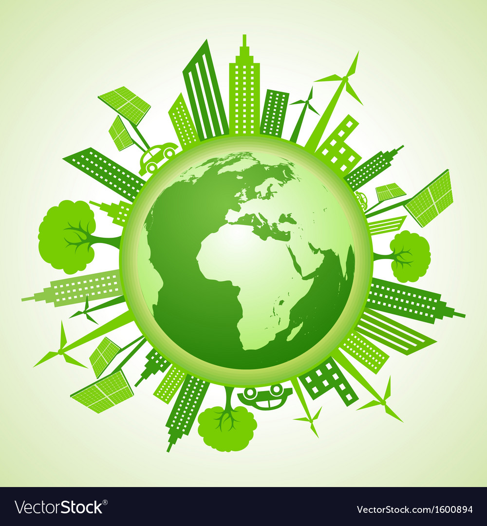 Eco earth with go green concept vector