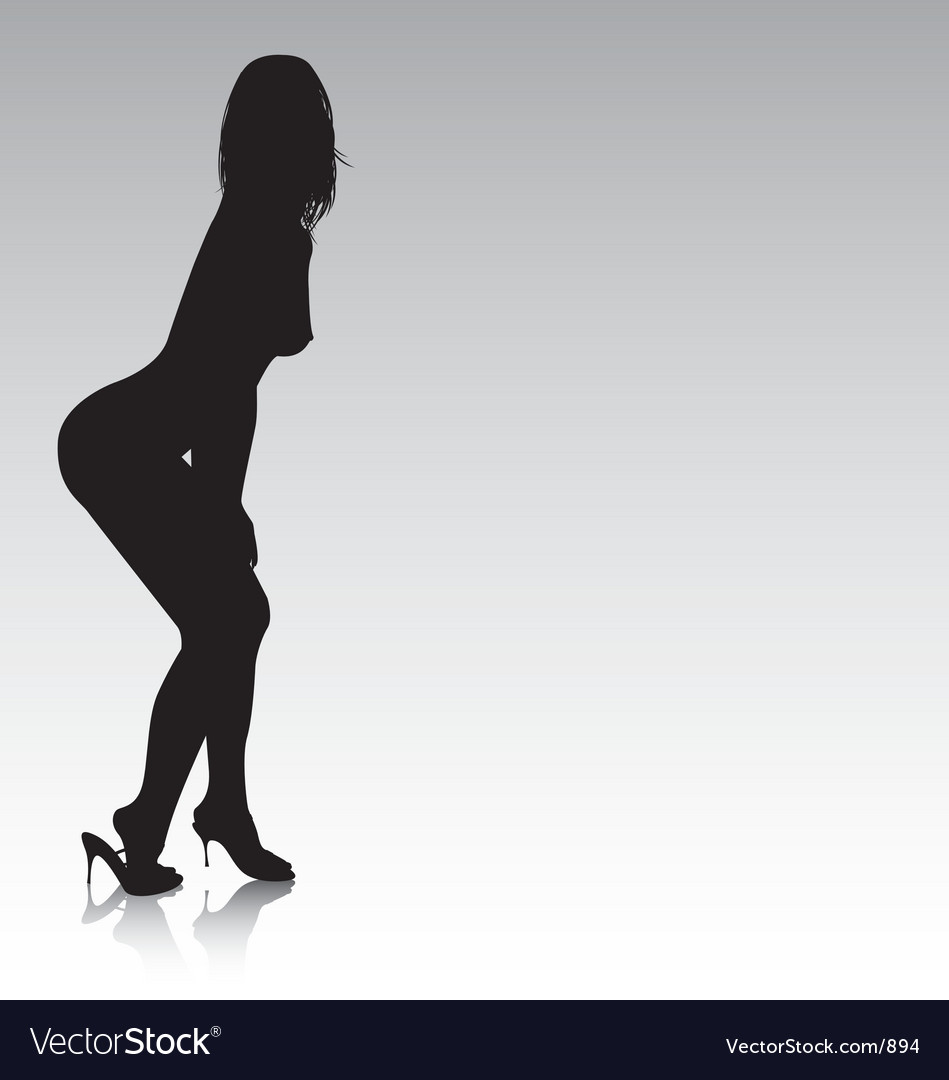 Sexy silhouette bending over vector