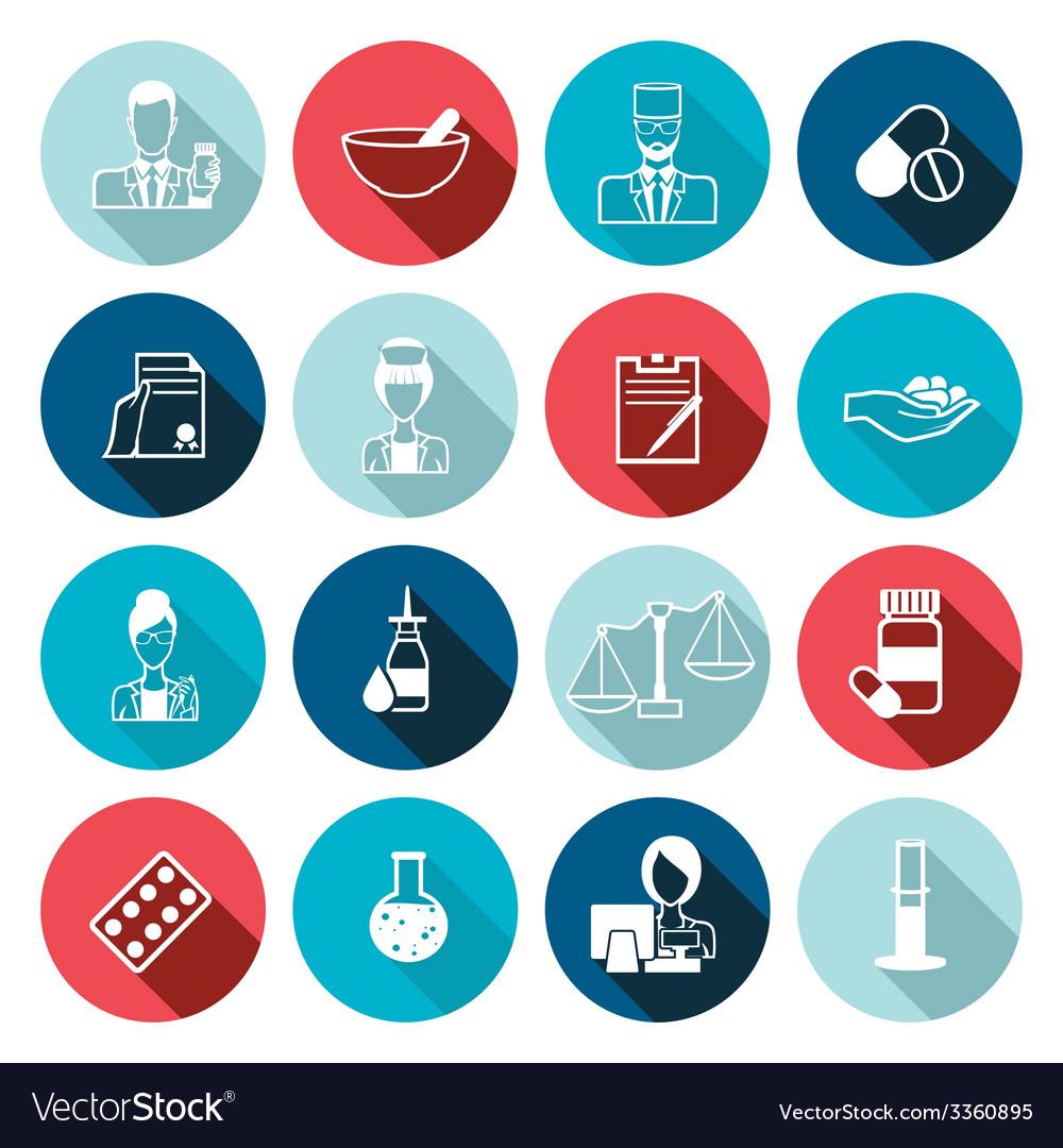 Pharmacist icon outline set vector