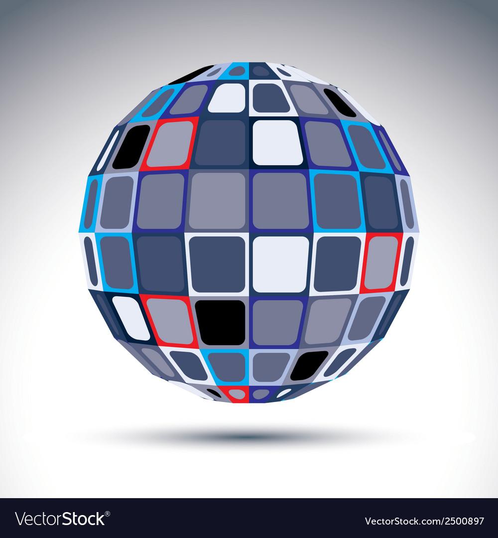 Gray urban spherical fractal object 3d metal vector