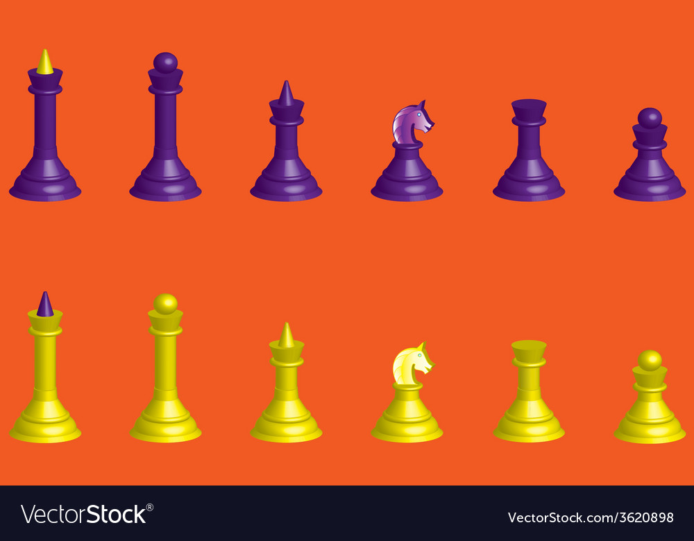 Chess silhouettes 3d vector