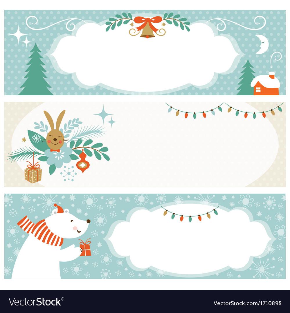 Christmas horizontal banners vector
