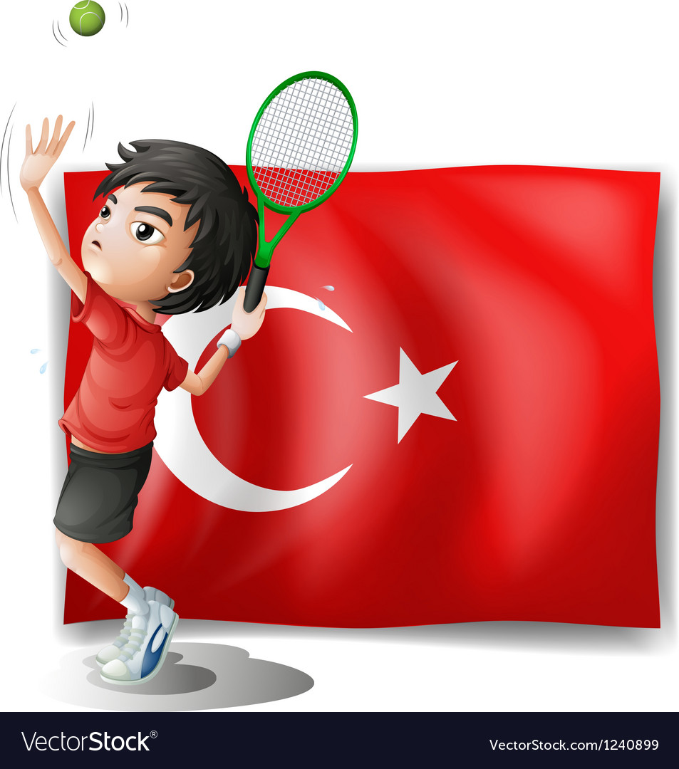 A tennis player in front of the flag of turkey vector