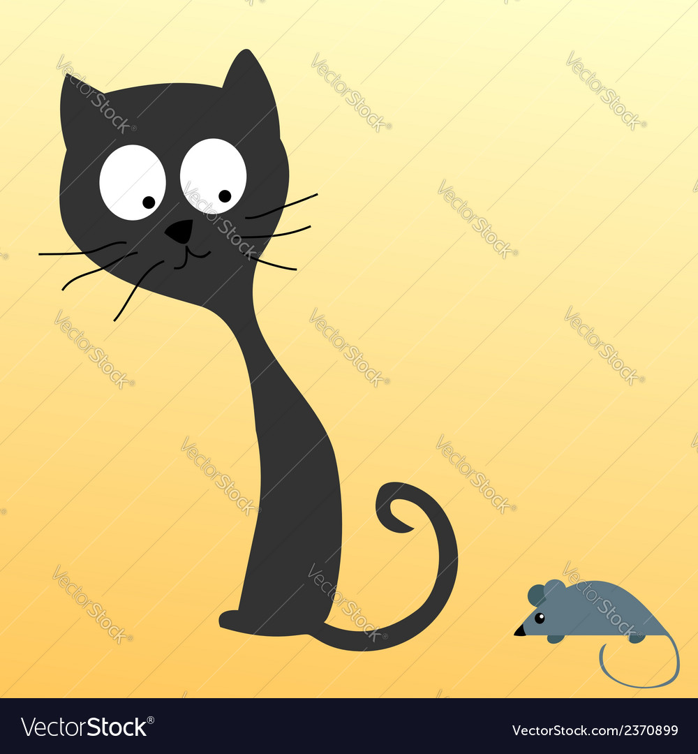 Cat watching a mouse vector