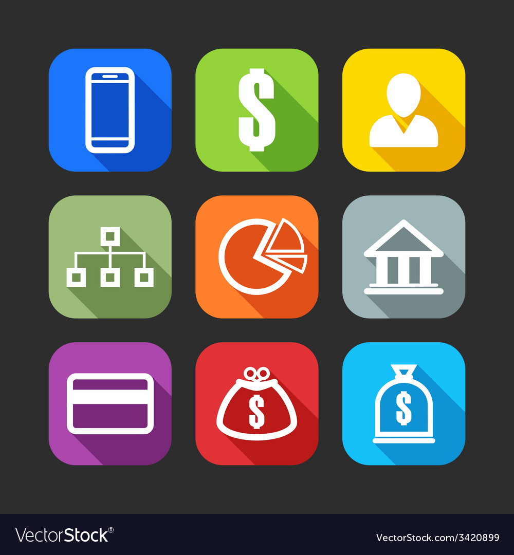 Flat icons for web and mobile applications flat vector