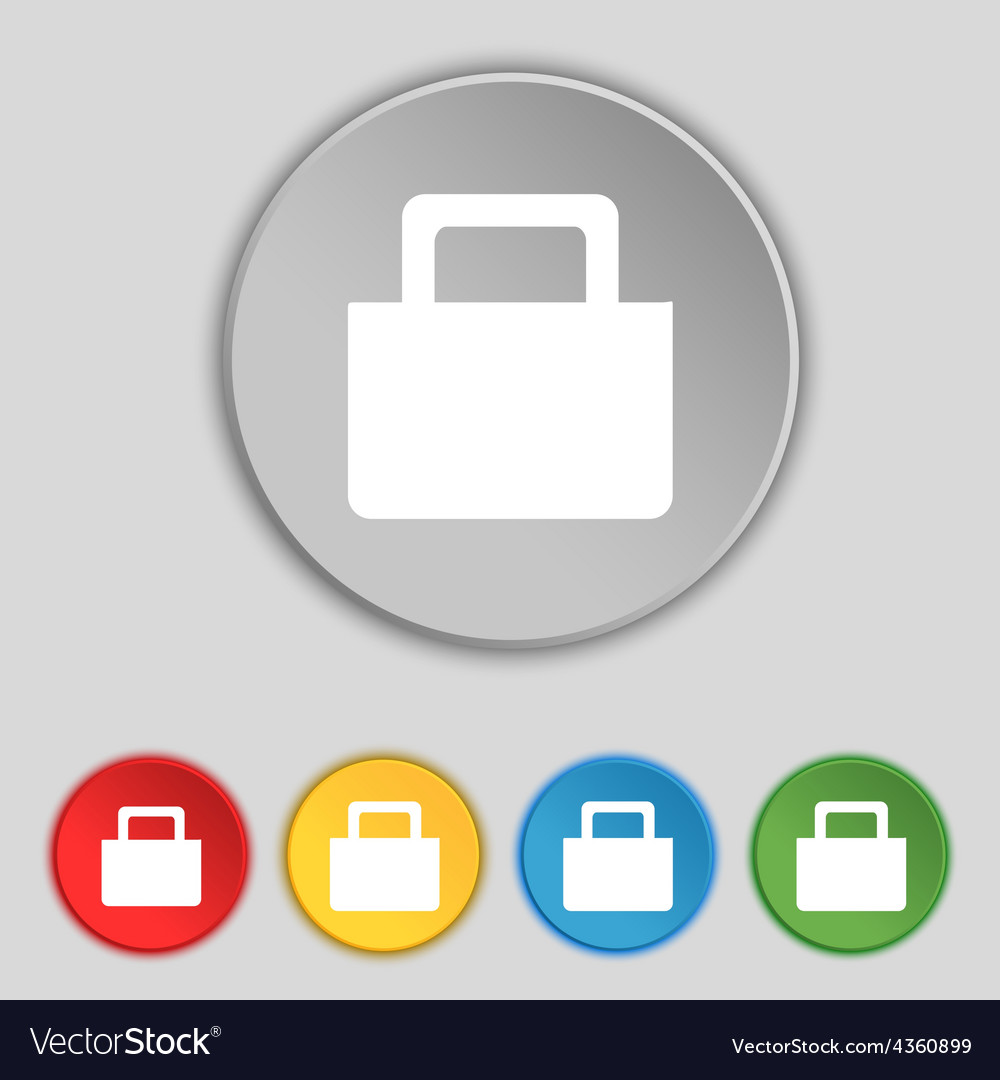 Sale bag icon sign symbol on five flat buttons vector