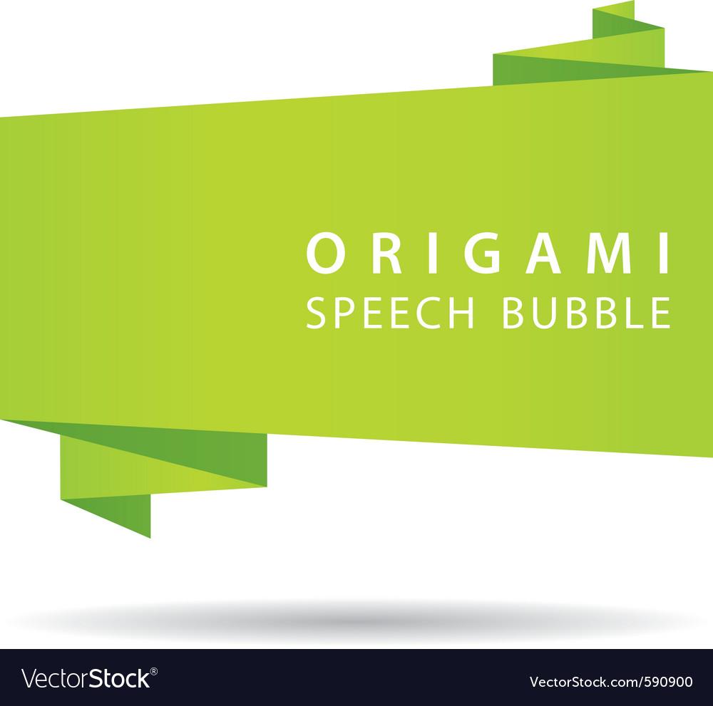 Green origami speech bubble vector