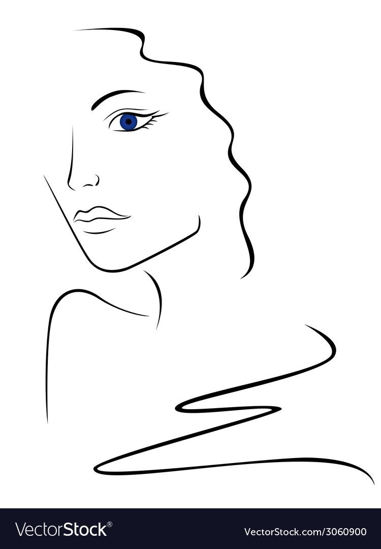 Sketch contour of woman head vector