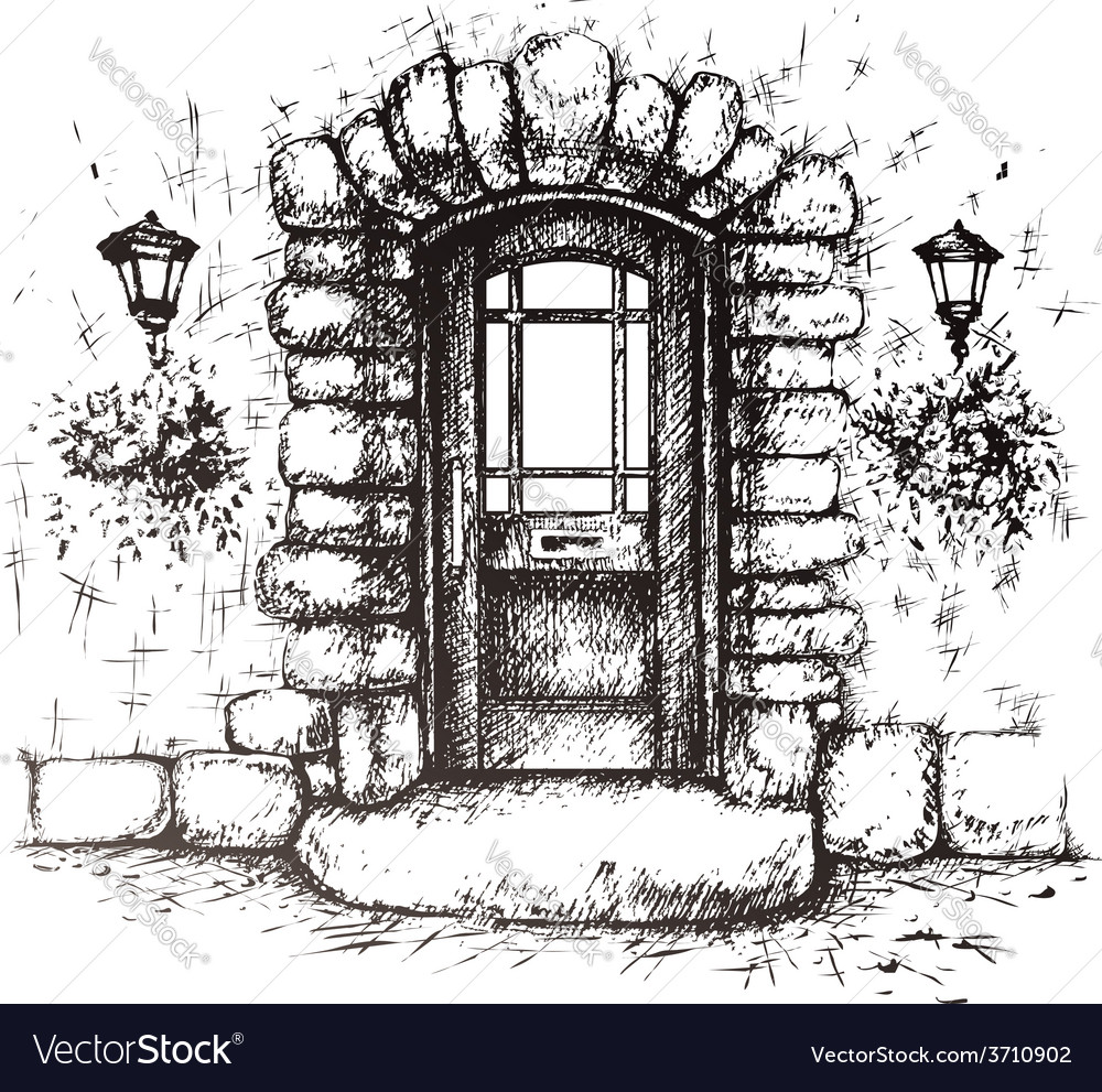 Freehand drawing of old front door vector