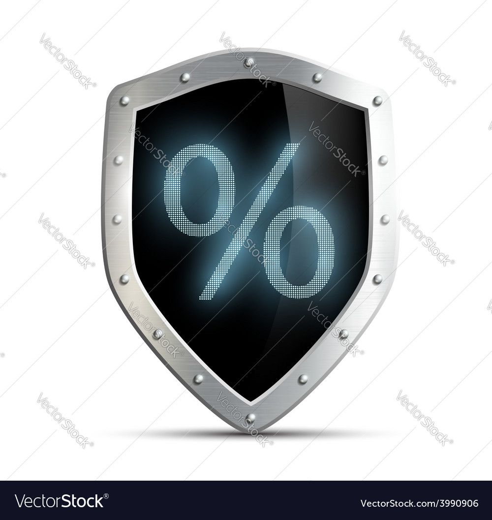 Metal shield with a percent sign isolated on white vector