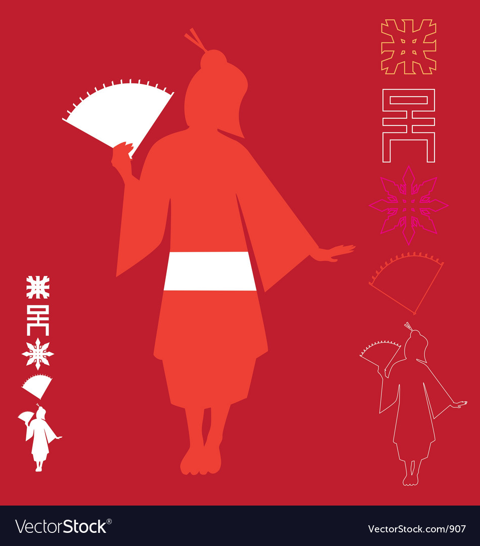 Asian graphic elements vector