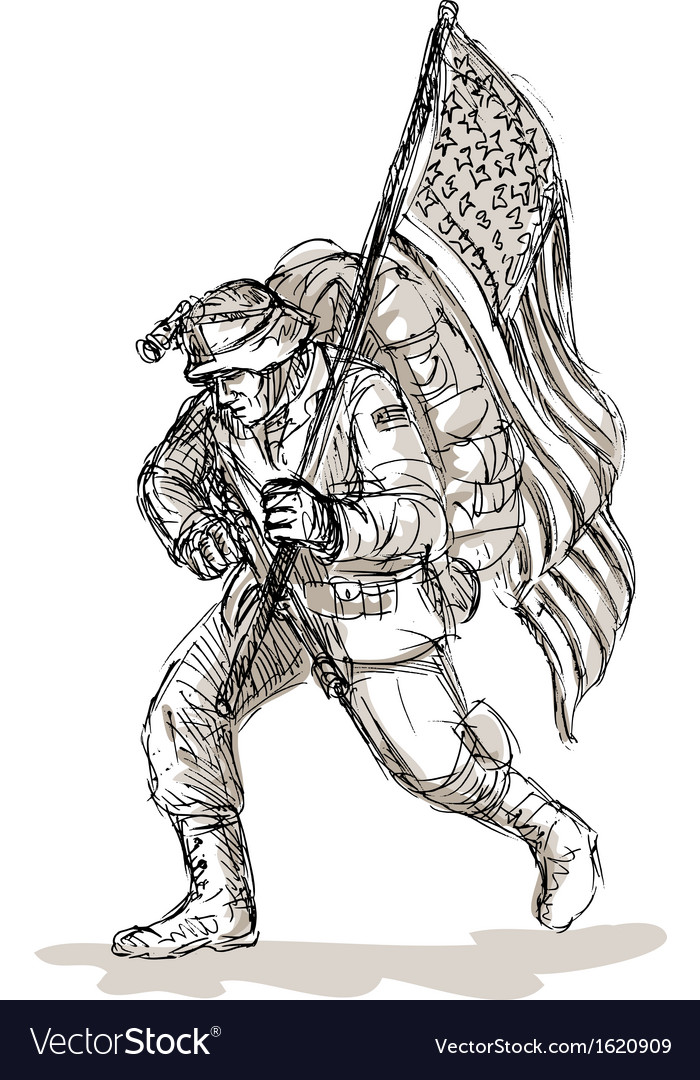 American soldier with rifle flag vector