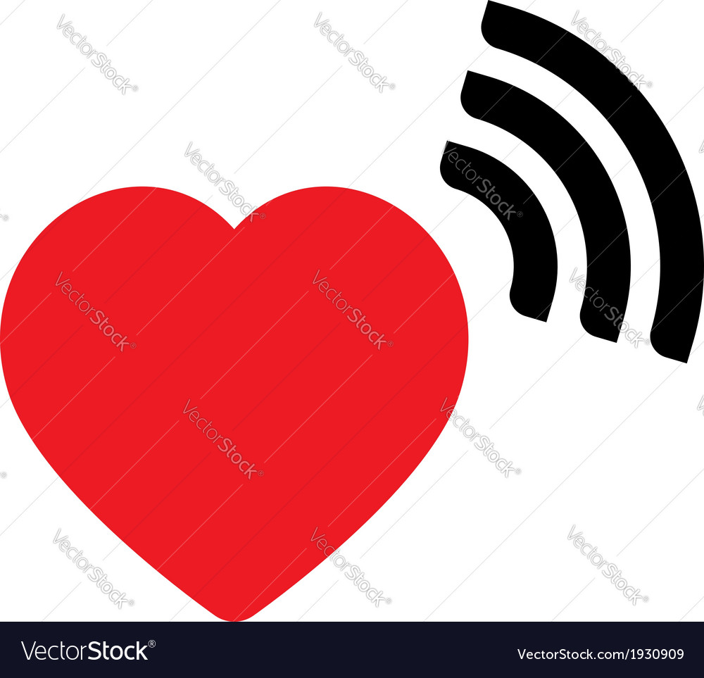 Heart with wave icon vector