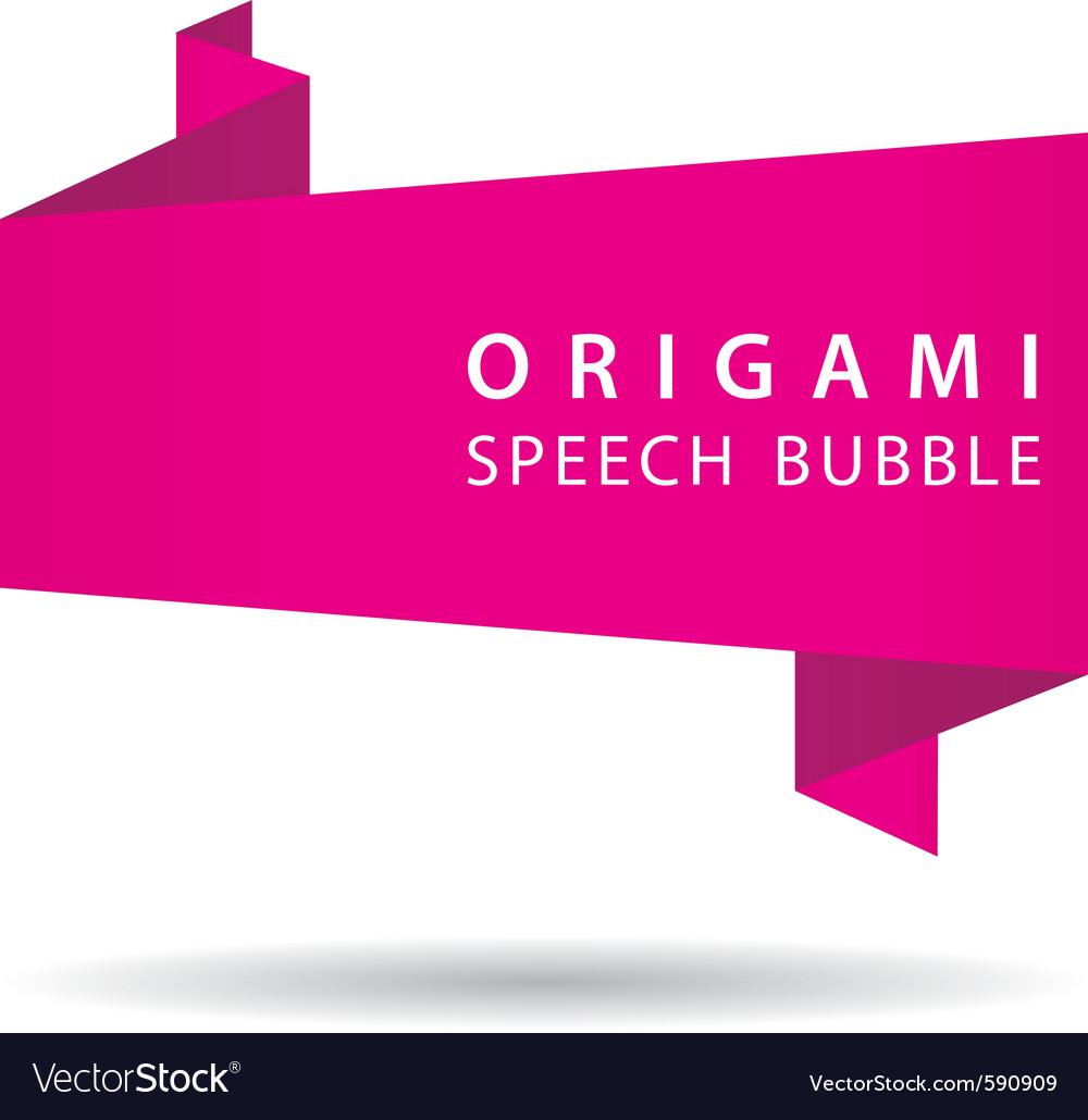 Pink origami speech bubble vector