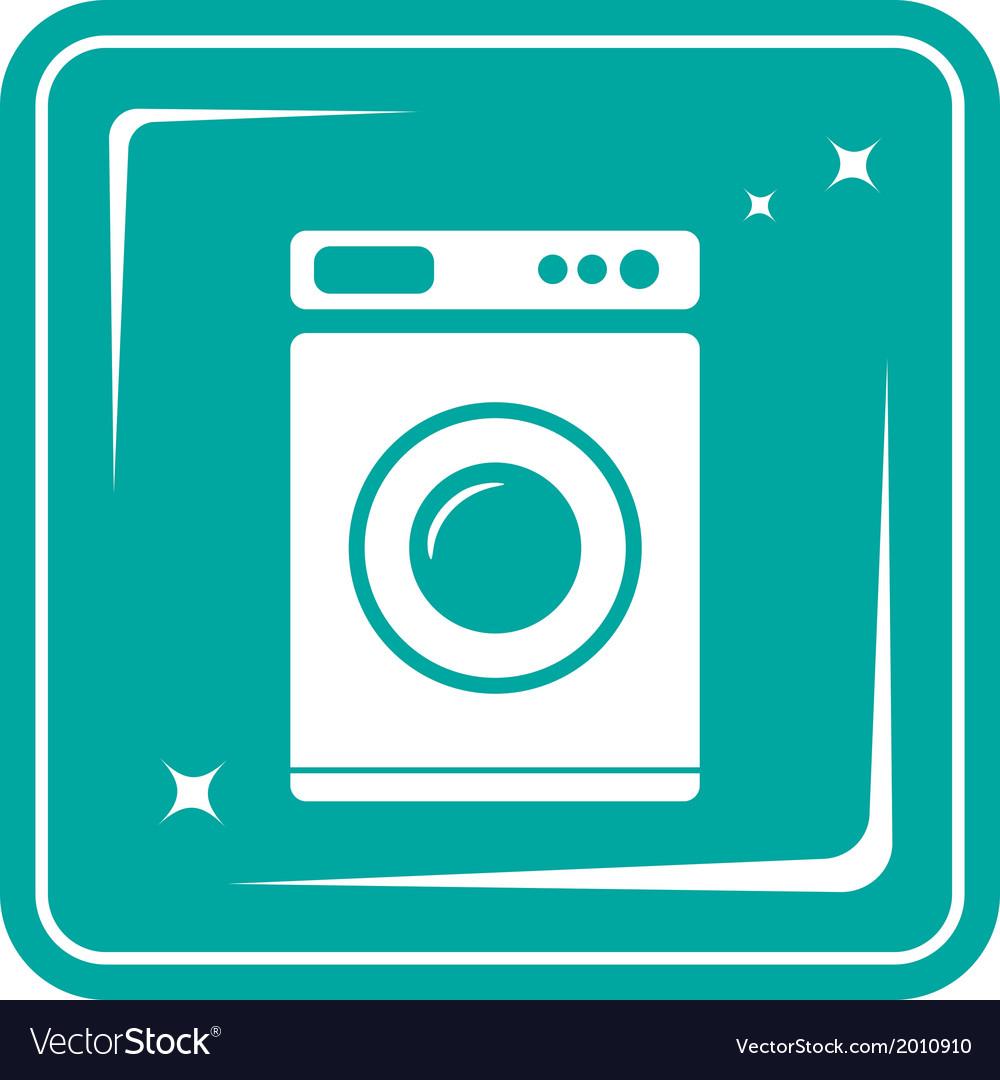 Icon with washing machine symbol vector