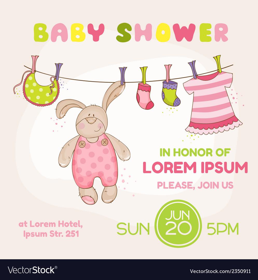 Baby bunny shower card vector