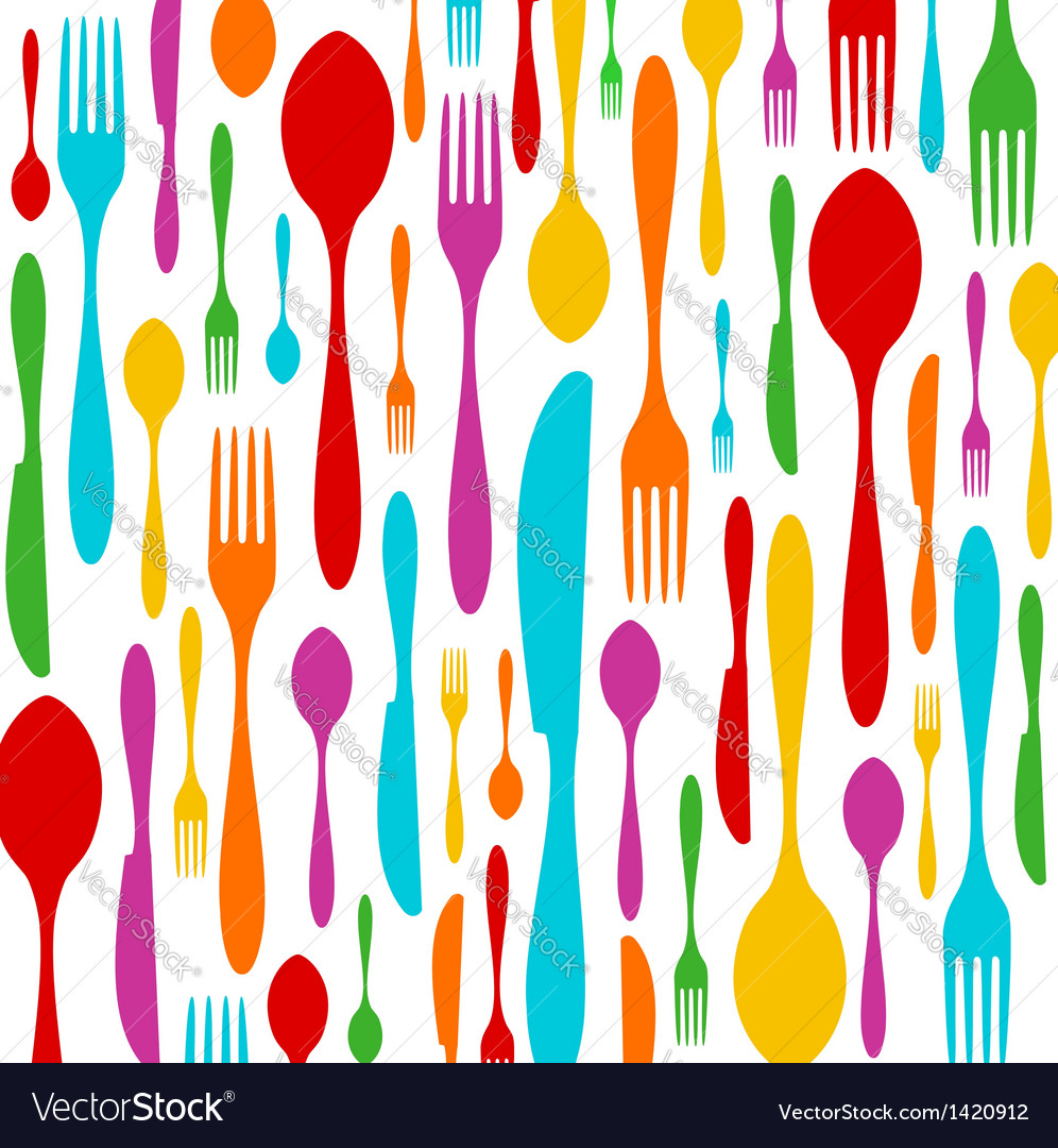 Cutlery colorful pattern on white vector