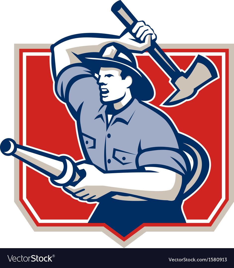 Fireman firefighter wielding fire axe vector