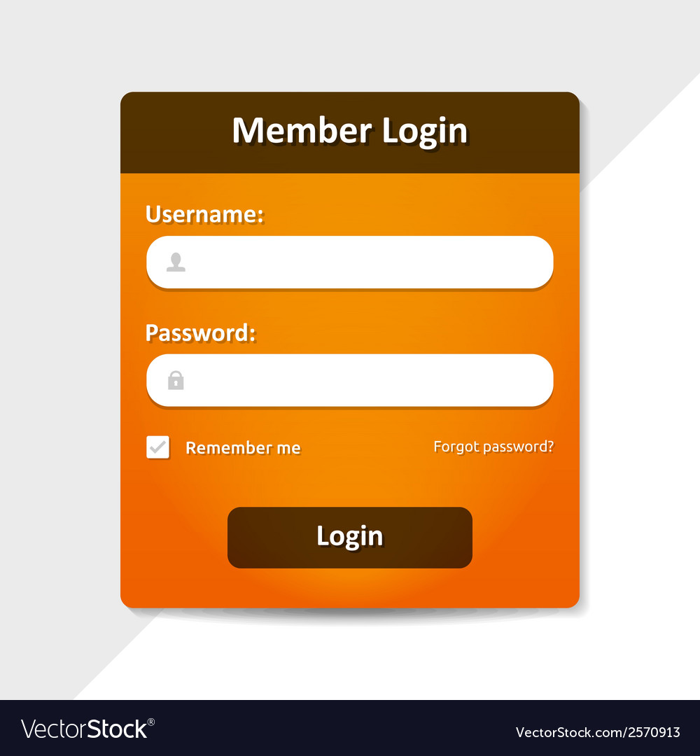 Member login template vector