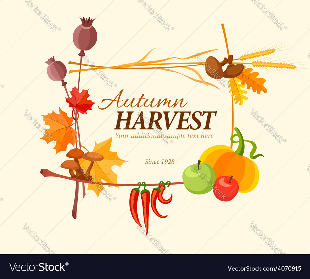 Autumn harvest frame for vector