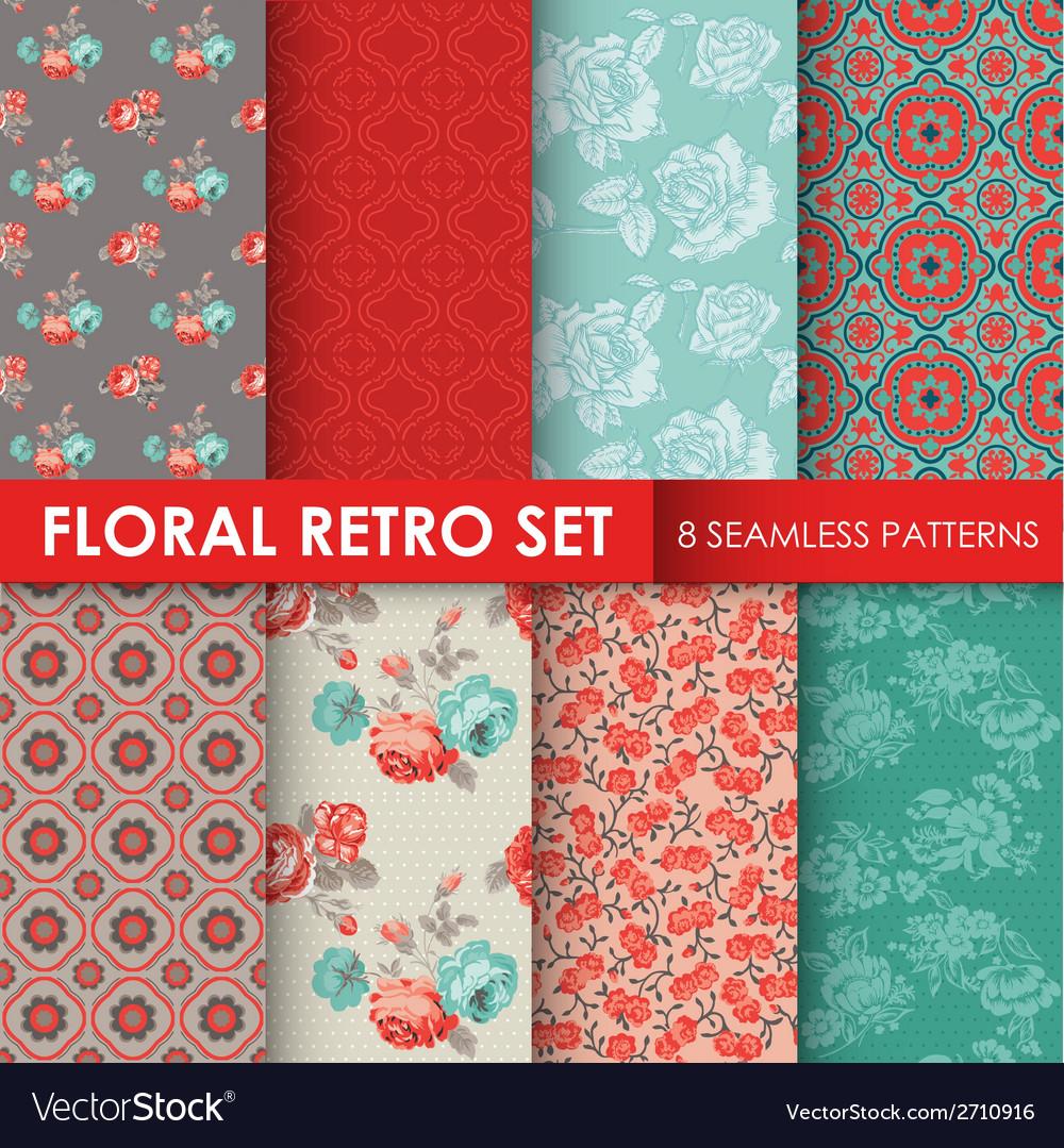 8 seamless patterns - floral retro set vector