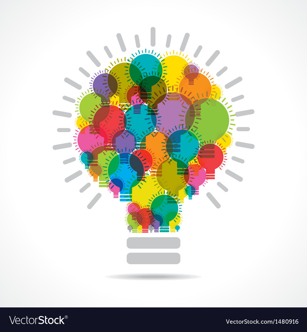 Colorful light bulbs form a big bulb vector