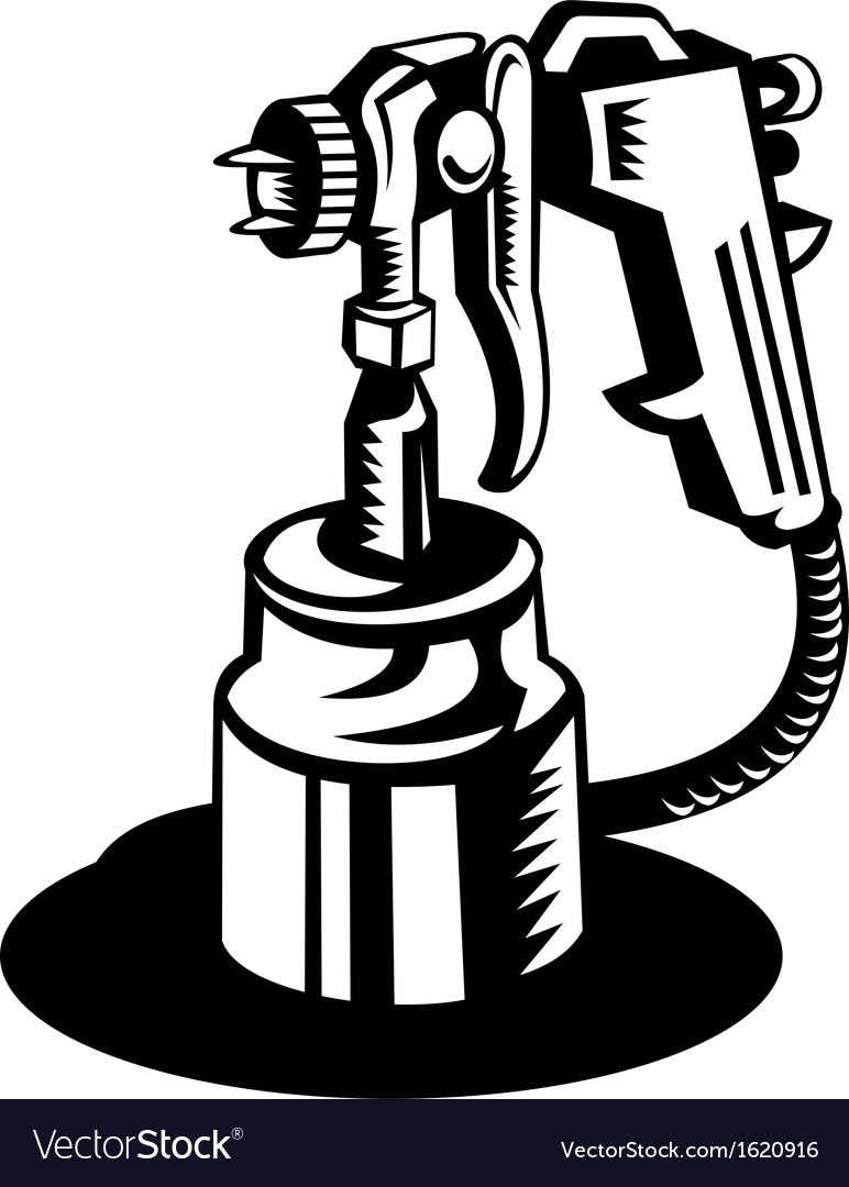 Spray gun viewed from a high angle vector