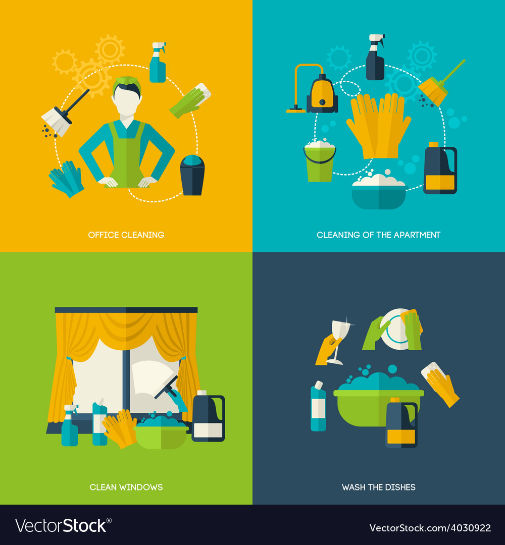 Cleaning flat set vector