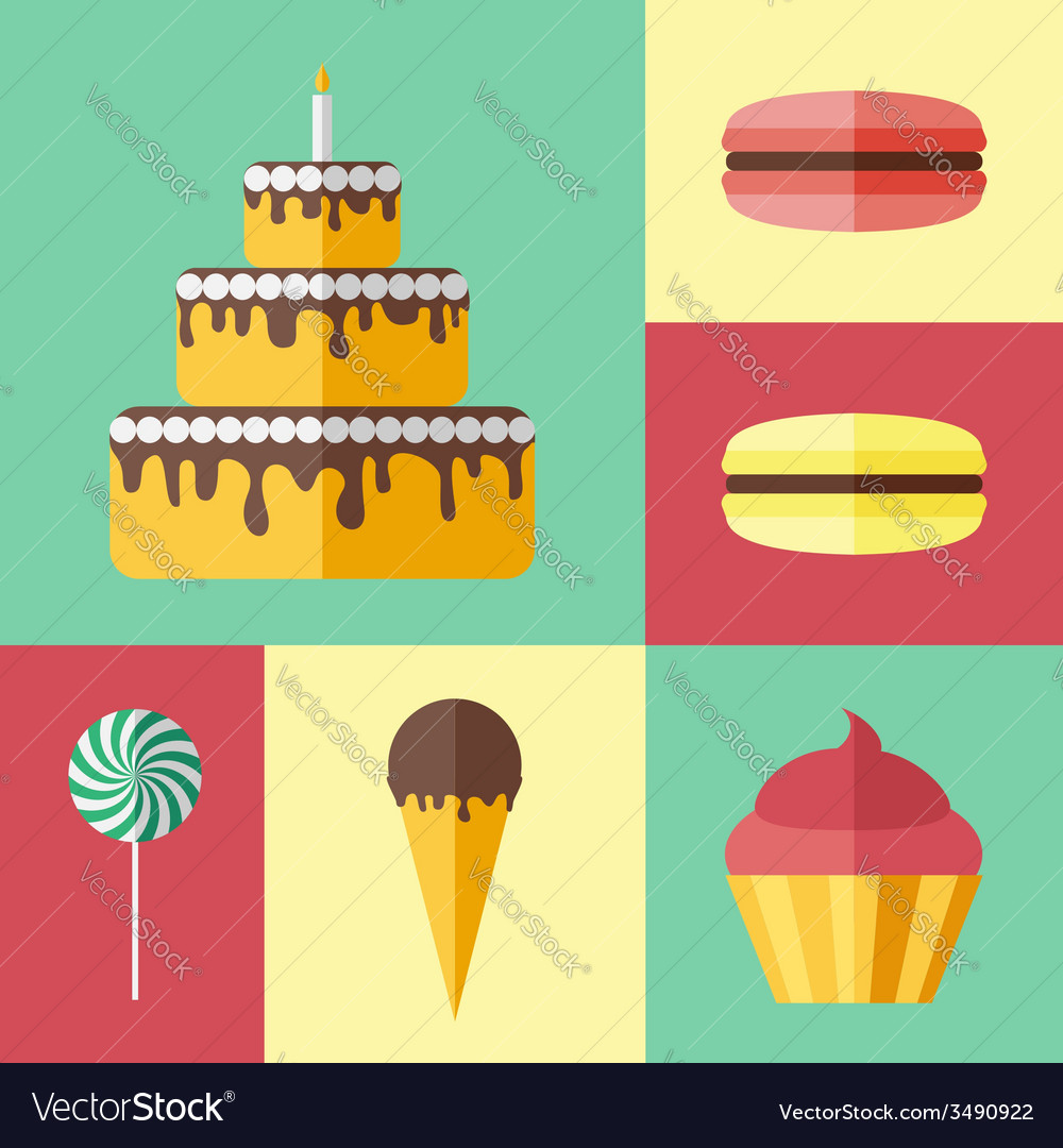 Set of flat icons with different sweets vector