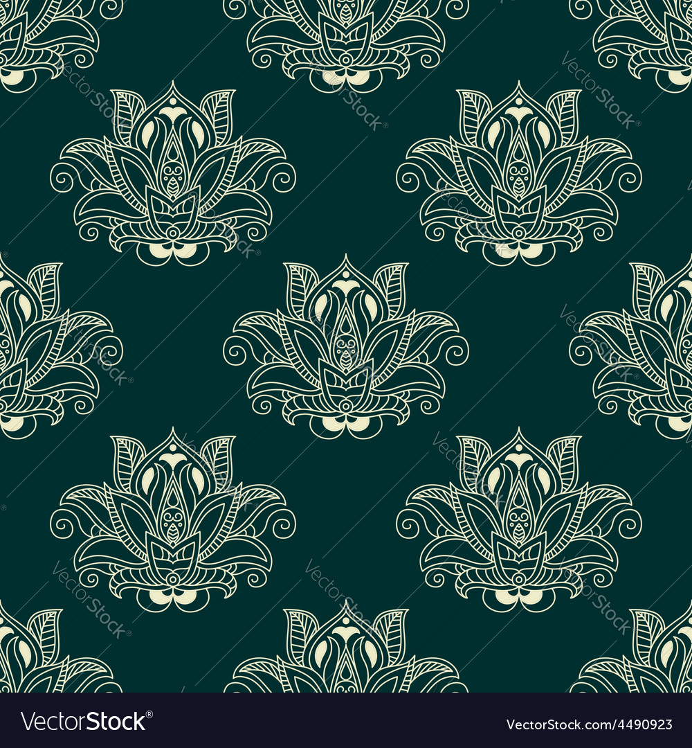 Seamless abstract paisley flower buds pattern vector