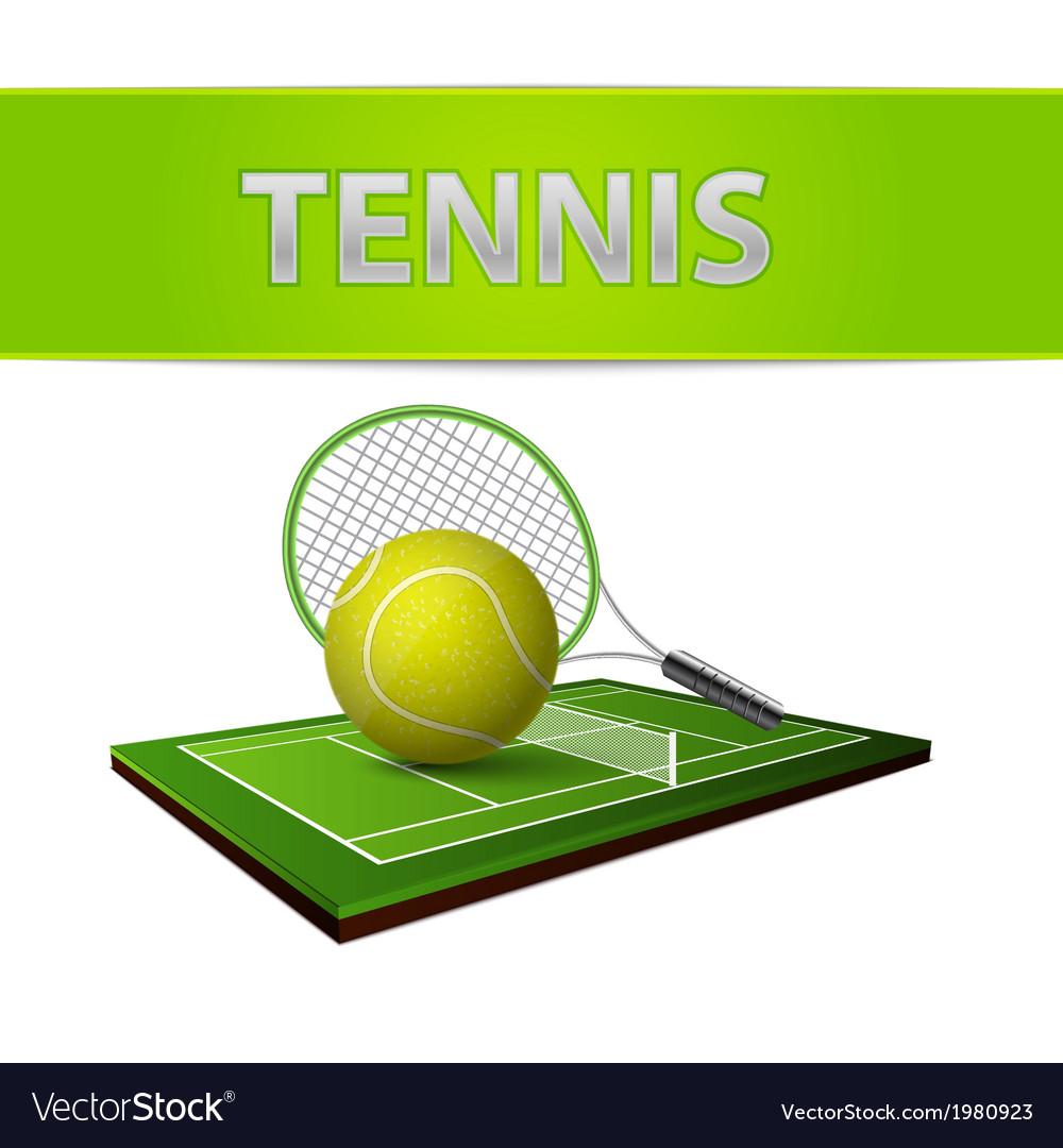 Tennis ball and green grass field emblem vector