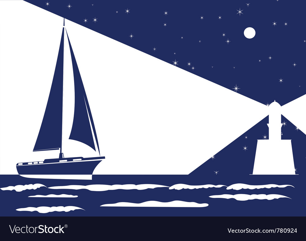 Night sea vector