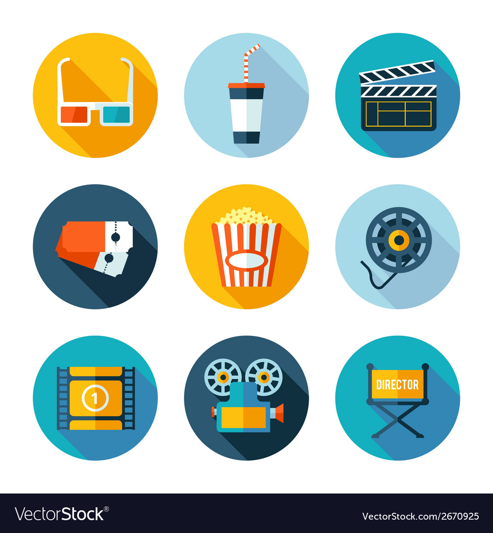 Set of flat cinema and movie icons vector