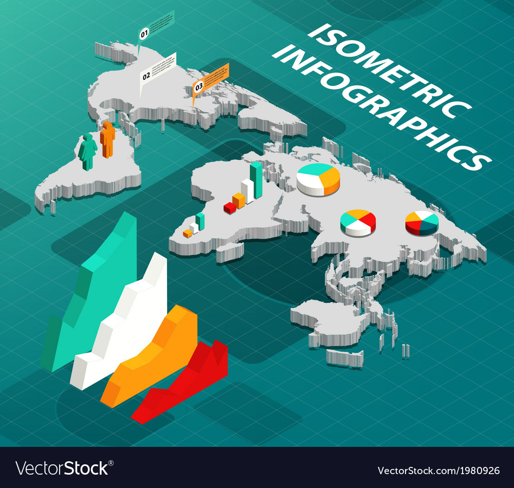 Isometric world map with business infographics vector