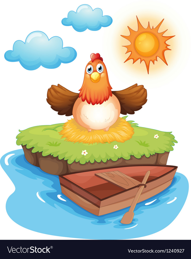 A chicken hatching eggs in an island vector
