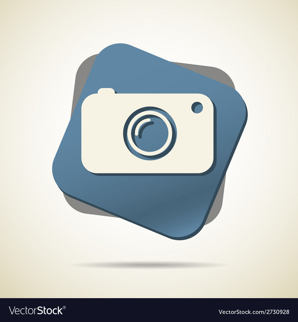 Hipster photo or camera icon with long shadow vector