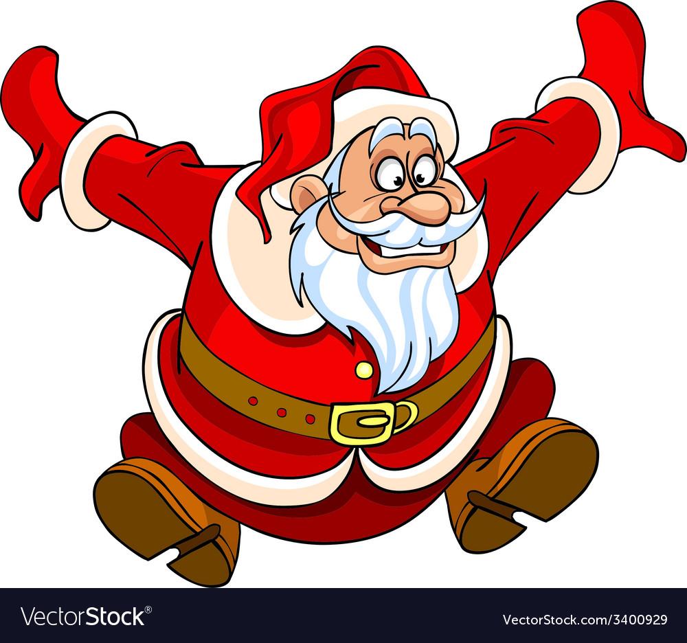 Cartoon santa claus jumping with joy vector