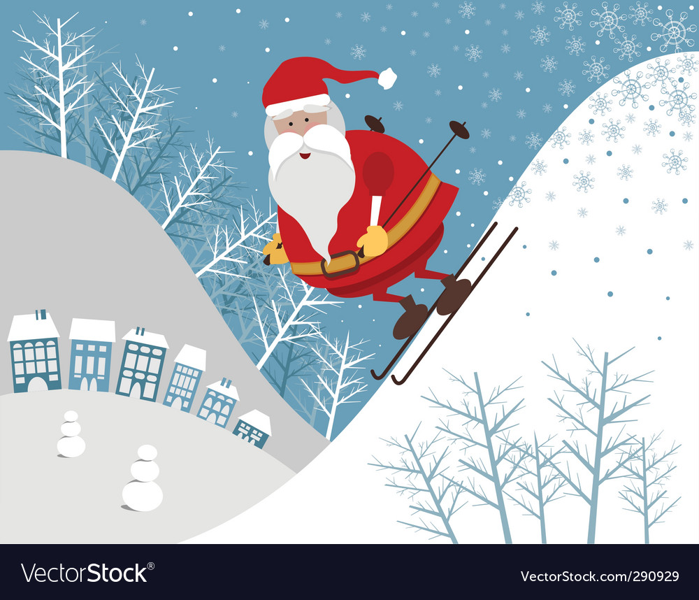 Skiing santa vector