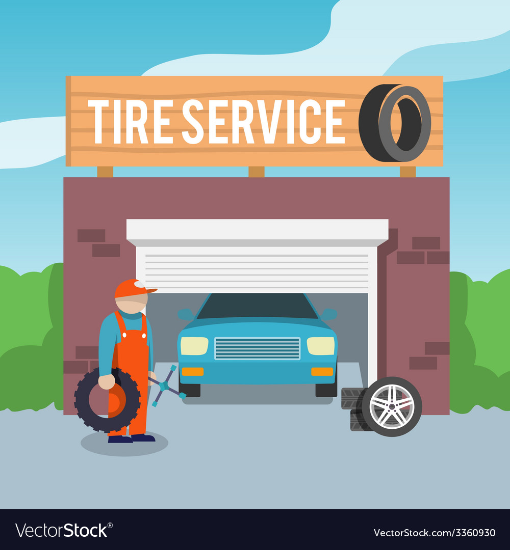 Tire service poster vector