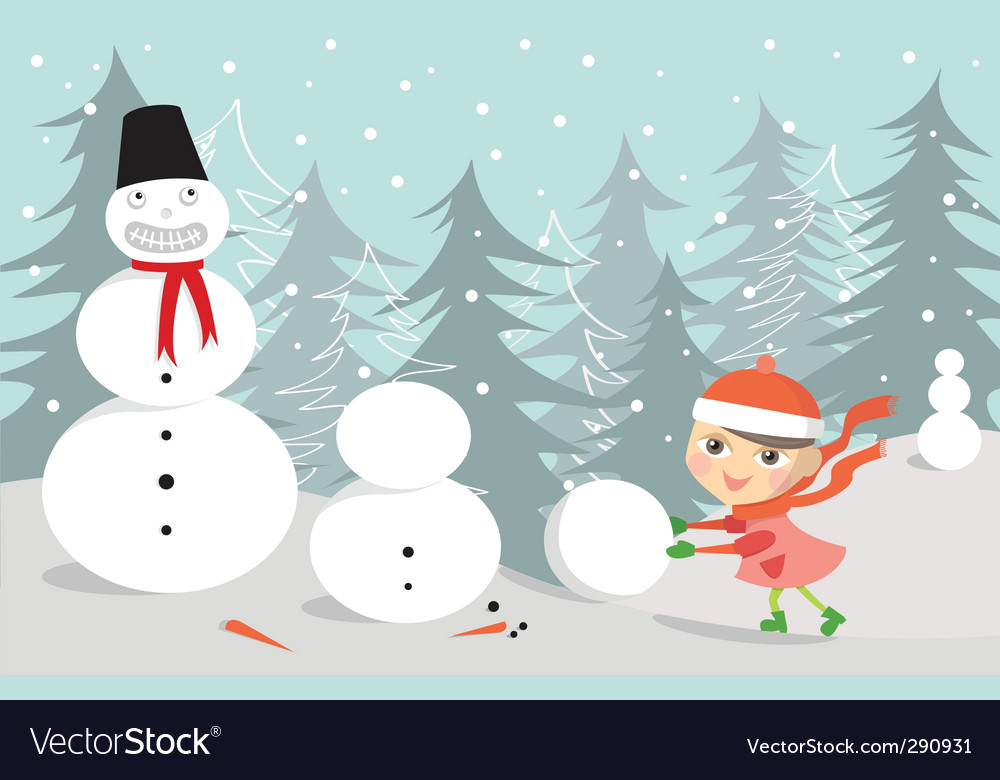 Snowman and kid vector