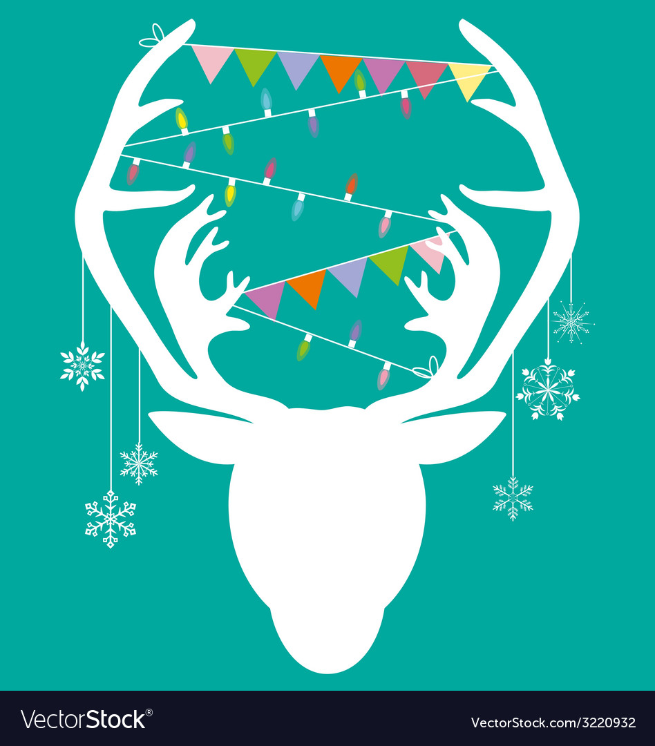 Reindeer white hang christmas accessories on green vector